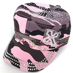 Rhinestone Cross  Cadet Hats Wholesale - PINK CAMO