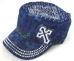 Rhinestone Cross  Cadet Hats Wholesale -Splash Dark Denim