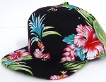 INFANT Baby Blank Snapback Hats & Caps Wholesale Hawaiian Flower  - Solid  Black