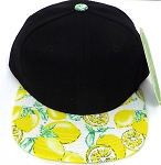 KIDS Jr. Snapback Hats Wholesale - Black  Yellow Lemon