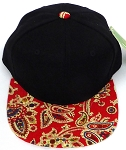 KIDS Jr. Snapback Hats Wholesale -  Paisley -Black  Red