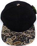 KIDS Jr. Snapback Hats Wholesale -  Paisley -   Black Brown