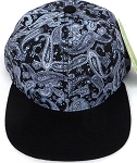 KIDS Jr. Snapback Hats Wholesale -  Paisley -  Grey Black