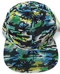 Wholesale Coconut Tree Floral Blank Snapback Hat - Solid Green  Yellow
