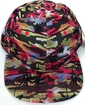 Wholesale Coconut Tree Floral Blank Snapback Hat - Solid Red
