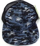Wholesale Mesh Trucker 5 Panel Snapback Caps - Coconut Tree - Grey