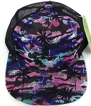 Wholesale Mesh Trucker 5 Panel Snapback Caps - Coconut Tree - Pink