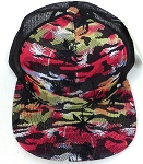 Wholesale Mesh Trucker 5 Panel Snapback Caps - Coconut Tree - Red