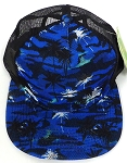 Wholesale Mesh Trucker 5 Panel Snapback Caps - Coconut Tree - Royal Blue