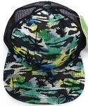 Wholesale Mesh Trucker 5 Panel Snapback Caps - Coconut Tree - Yellow Green