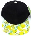 Wholesale Lemon Floral Blank Snapback Hat -  Black  Yellow Lemon