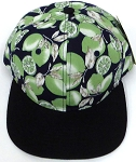 Wholesale Lemon Floral Blank Snapback Hat -   Green Lemon Black