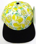 Wholesale Lemon Floral Blank Snapback Hat -  Yellow Lemon  Black