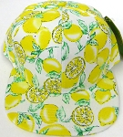 Wholesale Lemon Floral Blank Snapback Hat -   Yellow Lemon