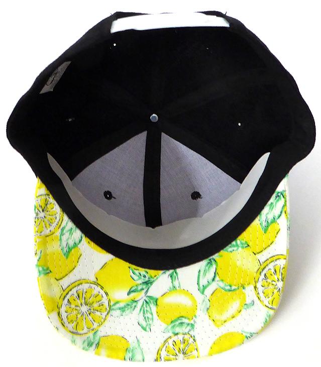 3def151d8 Wholesale Lemon Floral Blank Snapback Hat - Black Yellow Lemon