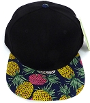 Wholesale PineApple Floral Blank Snapback Hat - Black  Navy