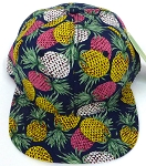 Wholesale PineApple Floral Blank Snapback Hat -  Navy
