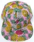 Wholesale PineApple Floral Blank Snapback Hat -  Pink