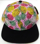 Wholesale Pineapple Floral Blank Snapback Hat -  Pink Black
