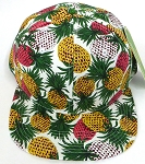 Wholesale Pineapple Floral Blank Snapback Hat -  White