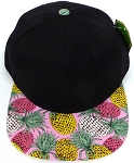 Wholesale PineApple Floral Blank Snapback Hat -  Black Pink
