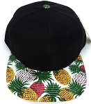 Wholesale PineApple Floral Blank Snapback Hat -  Black White