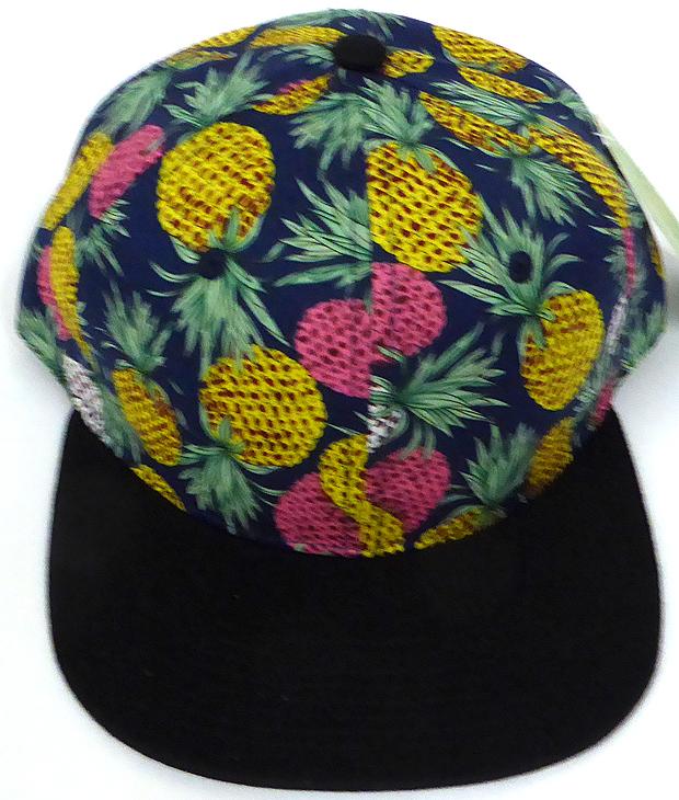3011b9177 Wholesale PineApple Floral Blank Snapback Hat - Navy Black