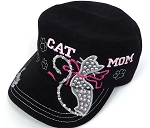 Wholesale Rhinestone Castro Caps - Cat Mom -  Black