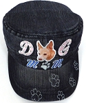 Wholesale Rhinestone Castro Caps - Dog Mom -  Black Denim