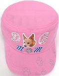 Wholesale Rhinestone Castro Caps - Dog Mom -  Light Pink