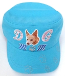 Wholesale Rhinestone Castro Caps - Dog Mom -  Turquoise Blue
