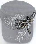 Wholesale Rhinestone Cadet Cap - Dragonfly - Grey