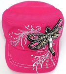Wholesale Rhinestone Cadet Cap - Dragonfly - Hot Pink