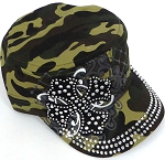 Wholesale Short Cross Cadet Rhinestone Hats - Green Camo