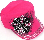 Wholesale Short Cross Cadet Rhinestone Hats - Hot Pink