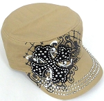 Wholesale Short Cross Cadet Rhinestone Hats - Khaki
