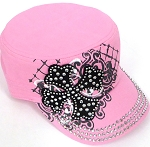 Wholesale Short Cross Cadet Rhinestone Hats -  L. Pink