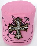 Wholesale Rhinestone Women's Cadet Hats - CROSS - Light Pink