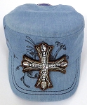 Wholesale Rhinestone Women's Cadet Hats - CROSS - Light Denim