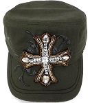 Wholesale Rhinestone Women's Cadet Hats - CROSS - Olive