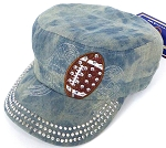 Wholesale Rhinestone Football  Cadet Cap - Splash Light Denim