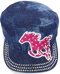 Wholesale Rhinestone Cadet Cap - Horse  -  Splash Dark Denim
