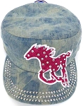 Wholesale Rhinestone Cadet Cap - Horse  -  Splash Light  Denim