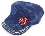 Wholesale Rhinestone Cadet Cap - Lady Bug - Splash Dark Denim