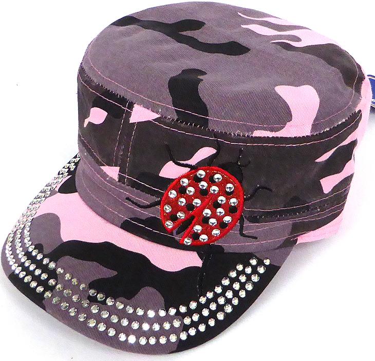 d24d9b954 Wholesale Rhinestone Cadet Cap - Lady Bug - Pink Camo