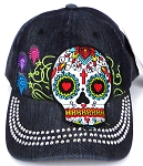 Wholesale Rhinestone Baseball Caps - Hearty Eyes Sugar Skull - Black Denim
