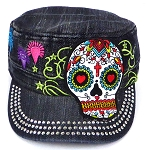 Wholesale Rhinestone Castro Caps - Hearty Eyes Sugar Skull - Black Denim