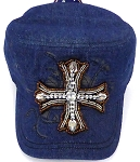 Wholesale  Cross Cadet Rhinestone Hats -  Dark Denim