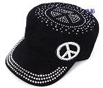 Wholesale Rhinestone Castro Hat - Peace Sign - Black