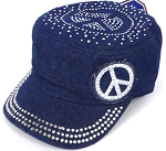 Wholesale Rhinestone Castro Hat - Peace Sign - Dark Denim